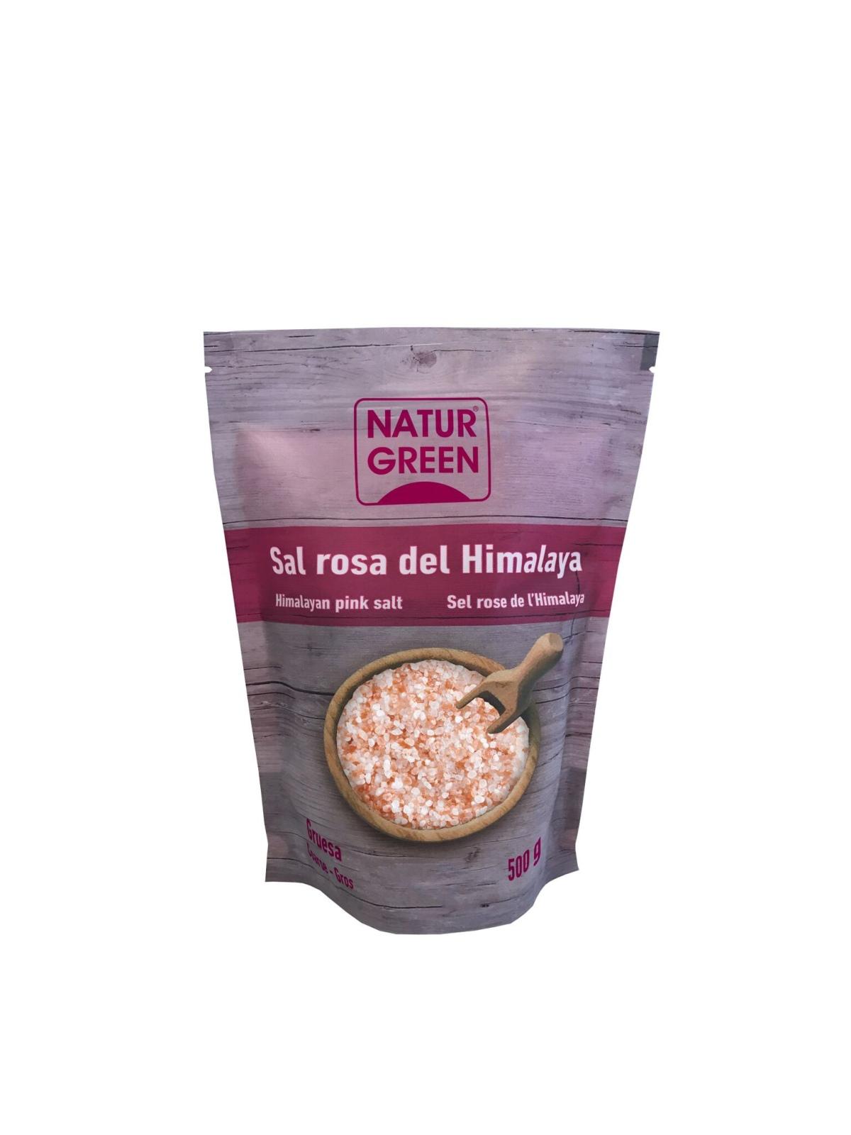 Envase de Sal Rosa del Himalaya Gruesa Naturgreen 500 gr.