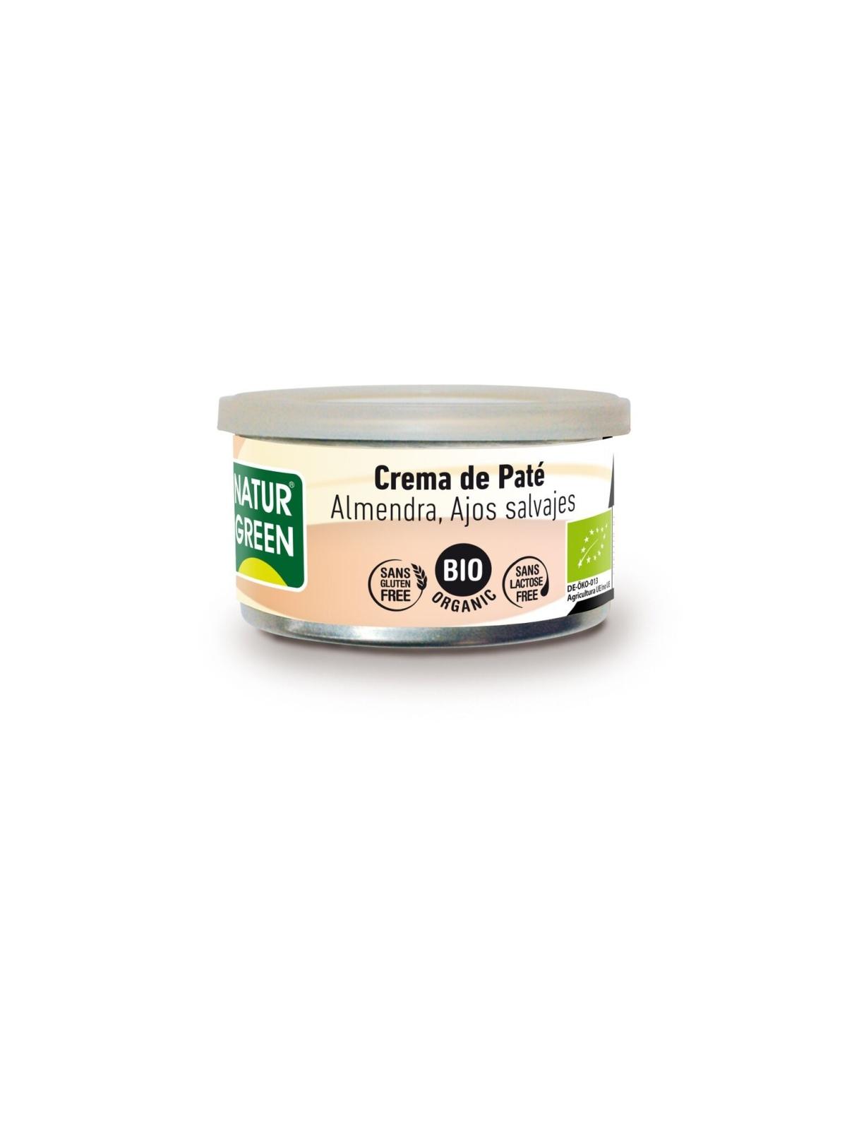 Tarrina de Crema Paté Almendra Ajos Salvajes Bio Naturgreen 125 g