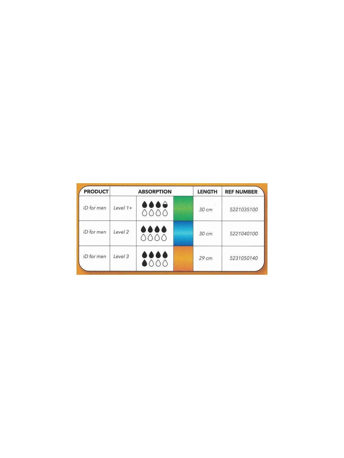 Compresa ID For men masculina Level 3 máxima absorcion- 14und/bolsa -12bolsas/caja